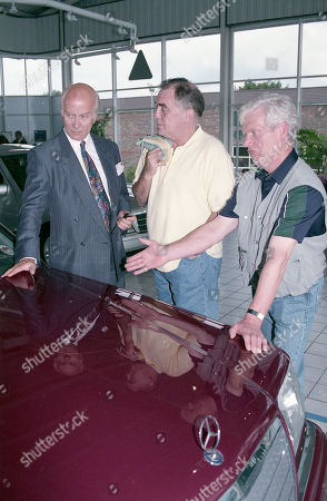 Stock Image of Anthony Schaeffer (as Car Salesman Malcolm Teeson), William Tarmey (as Jack Duckworth) and Geoff Hinsliff (as Don Brennan)
