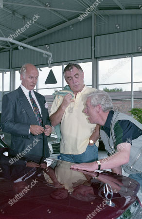 Stock Picture of Anthony Schaeffer (as Car Salesman Malcolm Teeson), William Tarmey (as Jack Duckworth) and Geoff Hinsliff (as Don Brennan)