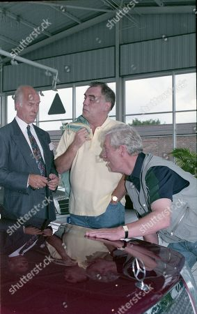 Stock Photo of Anthony Schaeffer (as Car Salesman Malcolm Teeson), William Tarmey (as Jack Duckworth) and Geoff Hinsliff (as Don Brennan)
