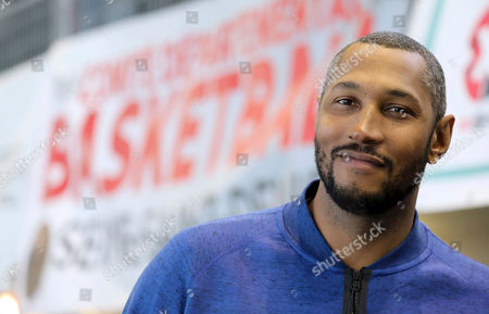 Stock Picture of French basketball player Boris Diaw is pictured during a display of basketball skills at the Jesse Owens gymnasium in Villetaneuse, north of Paris