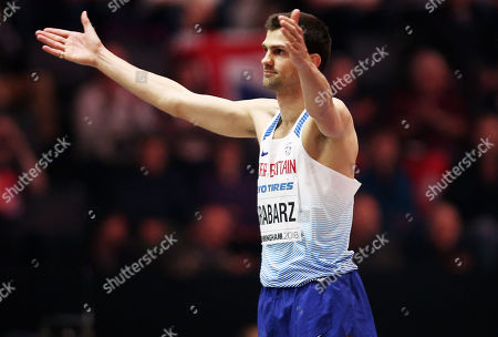 Stock Photo of Robbie Grabarz of Great Britain thanks the crowd during the Mens High Jump.