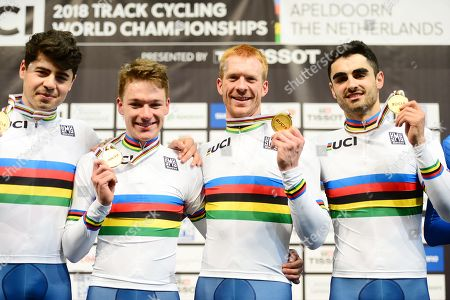 Charlie Tanfeild, Ed Clancy, Kian Emadi and Ethan Hayter of Great Britain celebrate Gold
