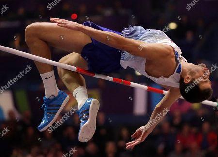 Britain's Robbie Grabarz makes an attempt in the men's high jump final at the World Athletics Indoor Championships in Birmingham, Britain