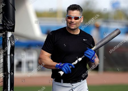 Stock Photo of Major League Baseball free agent Luke Scott leaves the batting cage after hitting before an exhibition game, in Bradenton, Fla