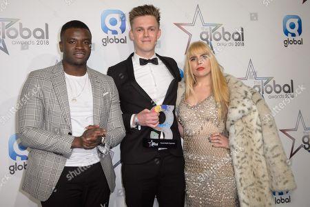 Big Shaq and Paloma Faith, presenters of Social Media Superstar with the winner, Caspar Lee