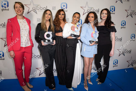 Little Mix -  Leigh-Anne Pinnock, Perrie Edwards, Jesy Nelson and Jade Thirlwall - winner of Best Group, Song and British Artist with presenters Laura Deas and Lizzy Yarnold