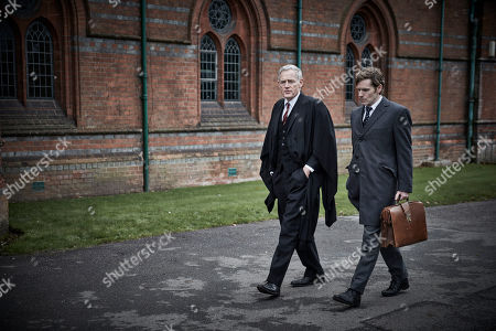Shaun Evans as Detective Sergeant Endeavour Morse and Michael Simkins as Headmaster Baldwin Mackenzie.