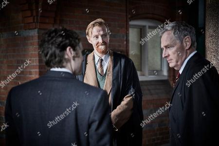 Shaun Evans as Detective Sergeant Endeavour Morse, Andrew Buckley as Mr Alun Bodnar and Michael Simkins as Headmaster Baldwin Mackenzie.