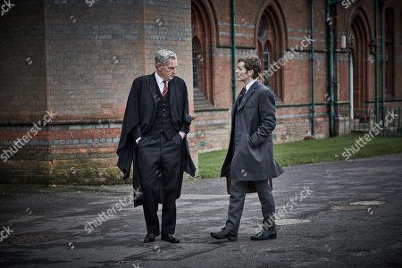 Stock Picture of Shaun Evans as Detective Sergeant Endeavour Morse and Michael Simkins as Headmaster Baldwin Mackenzie.