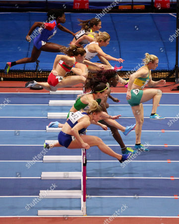 Sally Pearson of Australia in the lead during the Womens 60m Hurdles.