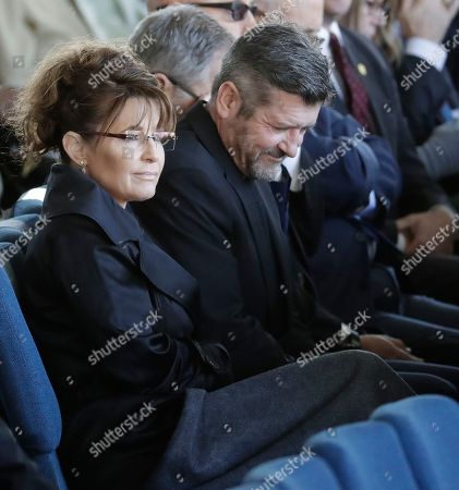 Former Alaska Gov. Sarah Palin listens to a sermon during a funeral service at the Billy Graham Library for the Rev. Billy Graham, who died last week at age 99, in Charlotte, N.C