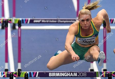 Sally Pearson of Australia  in action during the 60 metres Women's hurdles Round 1 during the IAAF Athletics World Indoor Championships at Arena Birmingham, Britain, 02 March 2018.