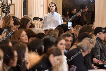 Stock Image of A model presents a creation from the Fall/ Winter 2018/2019 Women Ready to Wear collection by French designer Guillaume Henry for Nina Ricci fashion house during the Paris Fashion Week, in Paris, France, 02 March 2018. The presentation of the Women's collections runs from 26 February to 06 March 2018.
