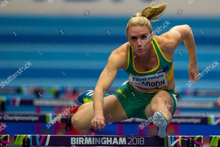 Sally Pearson of Australia during the Women's 60m Hurdles heats at the  IAAF World Indoor Championships day two at the National Indoor Arena, Birmingham
