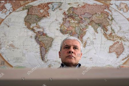 Serbia's former President Boris Tadic listens to a question during an interview to The Associated Press, in Belgrade, Serbia, . Tadic criticized the European Union for tolerating what he alleges is undemocratic practices by current President Aleksandar Vucic during the upcoming Sunday election