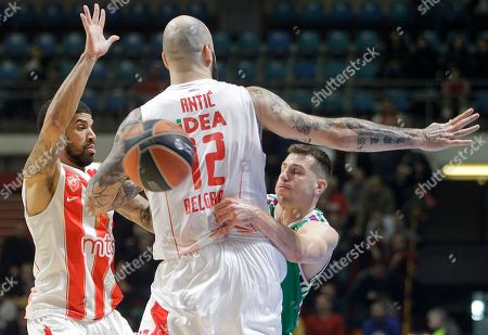 Unicaja?s Dragan Milosavljevic (R) in action against Red Star?s Pero Antic (C) and James Feldeine (L) during the Euroleague basketball match between Red Star and Unicaja in Belgrade, Serbia, 02 March 2018.