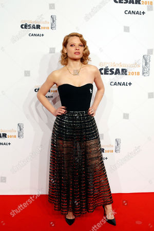 Stock Image of French actress Melanie Thierry arrives at the 43rd Cesar Film Awards ceremony at Salle Pleyel in Paris, . French film stars including Juliet Binoche are calling for quotas to guarantee that more government film subsidies go to movies directed by women