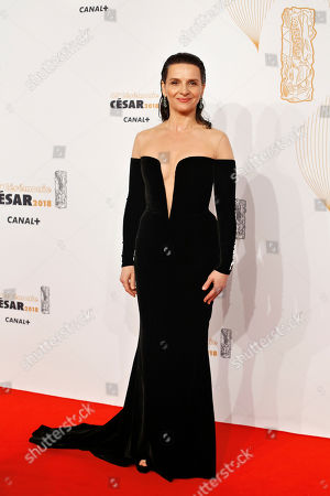 Stock Picture of French actress Juliette Binoche arrives at the 43rd Cesar Film Awards ceremony at Salle Pleyel in Paris, . French film stars including Juliet Binoche are calling for quotas to guarantee that more government film subsidies go to movies directed by women