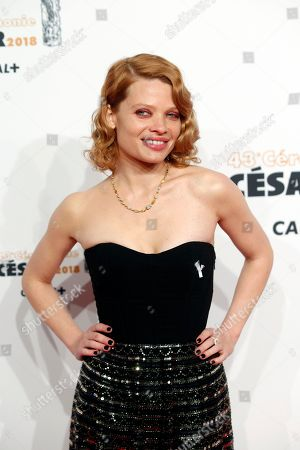 French actress Melanie Thierry arrives at the 43rd Cesar Film Awards ceremony at Salle Pleyel in Paris, . French film stars including Juliet Binoche are calling for quotas to guarantee that more government film subsidies go to movies directed by women