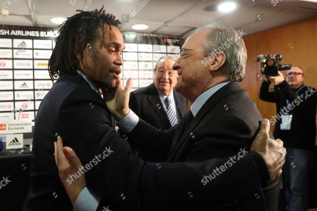 Real Madrid's president Florentino Perez (R) and former Real Madrid soccer player and Olympiacos' strategic advisor Christian Karembeu (L) talk during an event on occasion of the signing of the 'Athens Principles' agreement in Madrid, Spain, 02 March 2018. Olympiacos' president Evangelos Marinakis sponsored the signing of an agreement between Real Madrid, Fenerbahce and the basketball Euroleague that aims to 'guarantee that everybody is allowed to practice sports freely'.