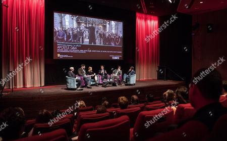 Stock Photo of Jason Solomons, Gareth Evans, Elen Rhys, Michael Sheen, Matt Flannery and Ed Talfan