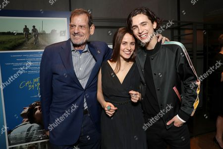 Howard Rosenman, Pauline Chalamet and Timothee Chalamet