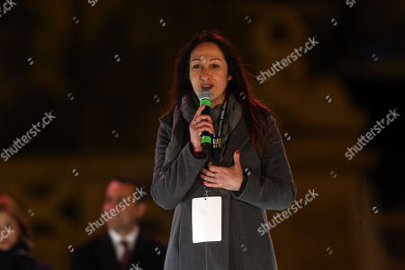 Paola Taverna at Closure of the election campaign of the 5-star movement in Piazza del Popolo square in Rome on March 2, 2018.