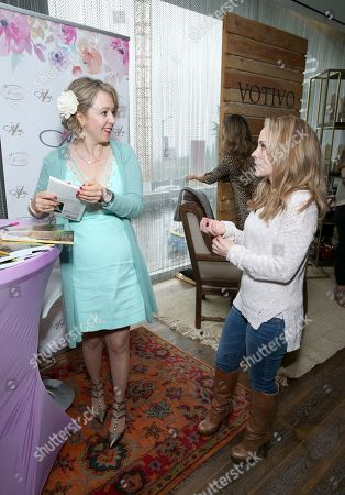 Kelly Stables, right, speaks with Chef Alina Z at Day 2 of the Kari Feinstein Style Lounge at the Andaz Hotel on in West Hollywood, Calif