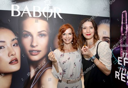 Nathalie Boltt, left, attends Day 1 of the Kari Feinstein Style Lounge at the Andaz Hotel on in West Hollywood, Calif