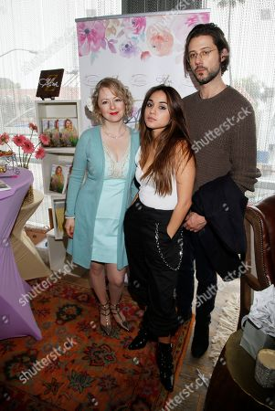 Stock Image of Alina Z, Summer Bishil, Hale Appleman. Chef Alina Z, from left, poses with Summer Bishil and Hale Appleman at Day 2 of the Kari Feinstein Style Lounge at the Andaz Hotel on in West Hollywood, Calif