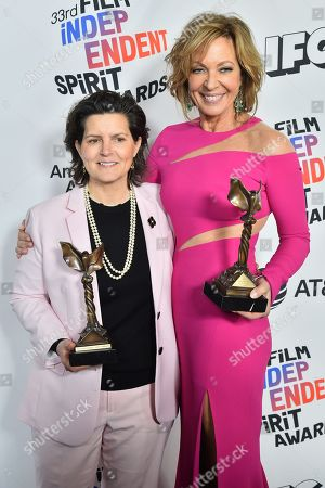 Tatiana S. Riegel, winner of the Best Editing award for 'I, Tonya', and Allison Janney - winner of the Best Supporting Actress award for 'I, Tonya'