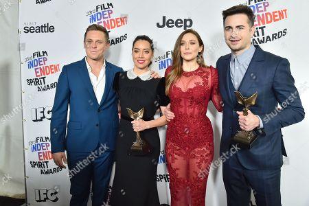 Stock Picture of Billy Magnussen, Aubrey Plaza, Elizabeth Olsen and Matt Spicer, 'Ingrid Goes West' - Best First Feature