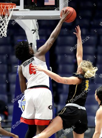 Caliya Robinson, Sophie Cunningham. Georgia's Caliya Robinson (4) blocks a shot by Missouri's Sophie Cunningham (3) in the second half of an NCAA college basketball game at the women's Southeastern Conference tournament, in Nashville, Tenn