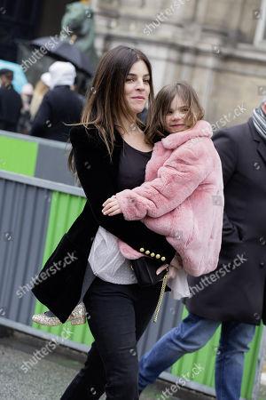 Stock Photo of Julia Restoin-Roitfeld and daughter Romy at Balmain fashion show