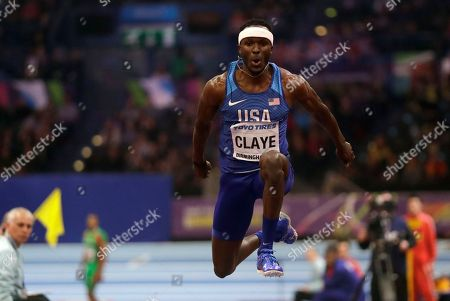 United States' Will Claye makes an attempt in the men's triple jump final at the World Athletics Indoor Championships in Birmingham, Britain