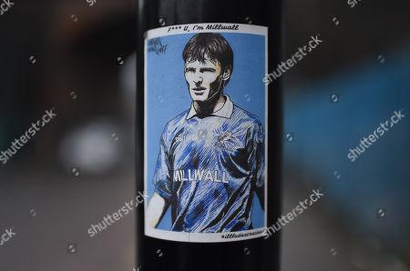 A sticker featuring former Millwall player Teddy Sheringham