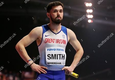 Owen Smith of Great Britain during the Mens 4 x 400m Relay heats.