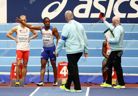 Chijindu Ujah of Great Britain is disqualified from the Mens 60m Semi-Finals due to a false start.