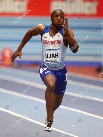 Chijindu Ujah of Great Britain during the Mens 60m heats.