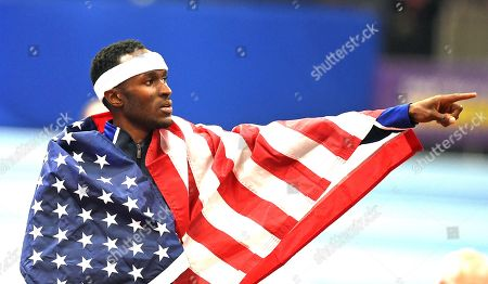 Will Claye of the USA takes gold in the Mens Triple Jump during the IAAF Athletics World Indoor Championships at Arena Birmingham, in Birmingham, Britain, 03 March 2018.