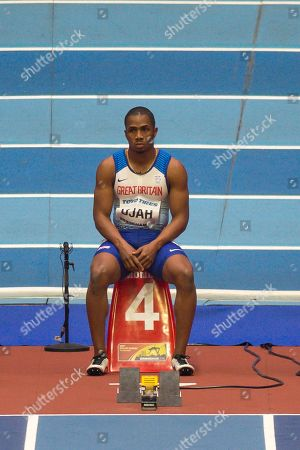 Chijindu Ujah of Great Britain looking dejected as he is about to be disqualified from starting the Men's 60m semi-finals at the IAAF World Indoor Championships day three at the National Indoor Arena, Birmingham