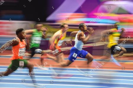 Chijindu Ujah ofGreat Britain at 60 meter at World indoor Athletics Championship 2018, Birmingham, England