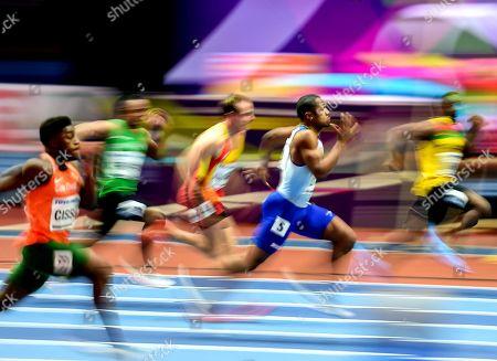Chijindu Ujah of Great Britain at 60 meter at World indoor Athletics Championship 2018, Birmingham, England on