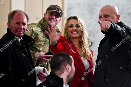 Francesca Pascale (C), fiance olf Silvio Berlusconi, during the visit of Silvio Berlusconi in Naples at the hotel Vesuvio, 03 March 2018. General elections in Italy will be held on 04 March.