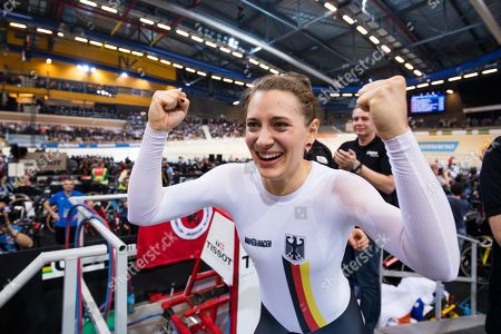 Germany's Miriam Welte celebrates winning Gold in the Women's 500m Time Trial final.