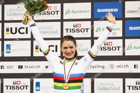 Miriam Welte of Germany celebrates winningn the 500m race at the UCI Track Cycling World Championships in Apeldoorn, The Netherlands, 03 March 2018.