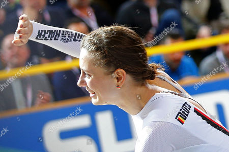 World champion Miriam Welte of Germany celebrates after the women's 500 meters time trial final at the World Championships Track Cycling in Apeldoorn, eastern Netherlands, Netherlands