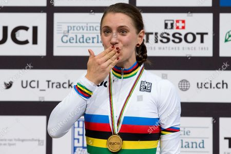 World champion Miriam Welte of Germany, blows a kiss on the podium of the women's 500 meters time trial final at the World Championships Track Cycling in Apeldoorn, eastern Netherlands, Netherlands