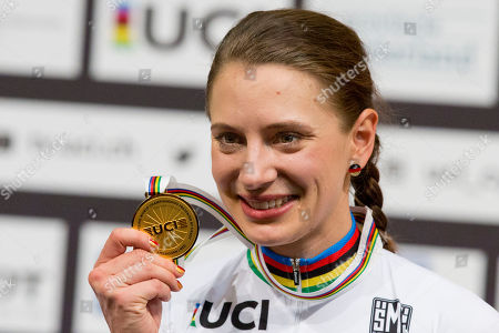 World champion Miriam Welte of Germany, shows her gold medal on the podium of the women's 500 meters time trial final at the World Championships Track Cycling in Apeldoorn, eastern Netherlands, Netherlands