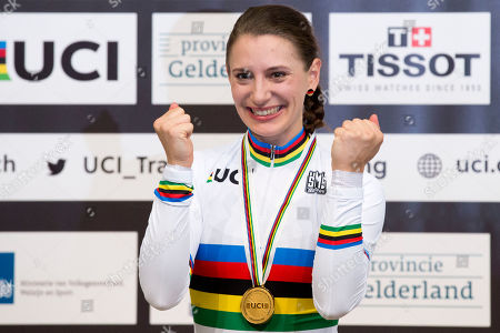 World champion Miriam Welte of Germany celebrates on the podium of the women's 500 meters time trial final at the World Championships Track Cycling in Apeldoorn, eastern Netherlands, Netherlands